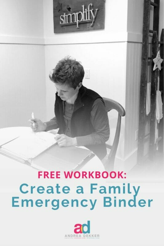 create a family emergency binder