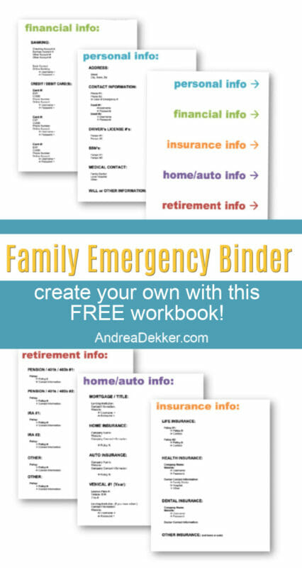 family emergency binder free printables