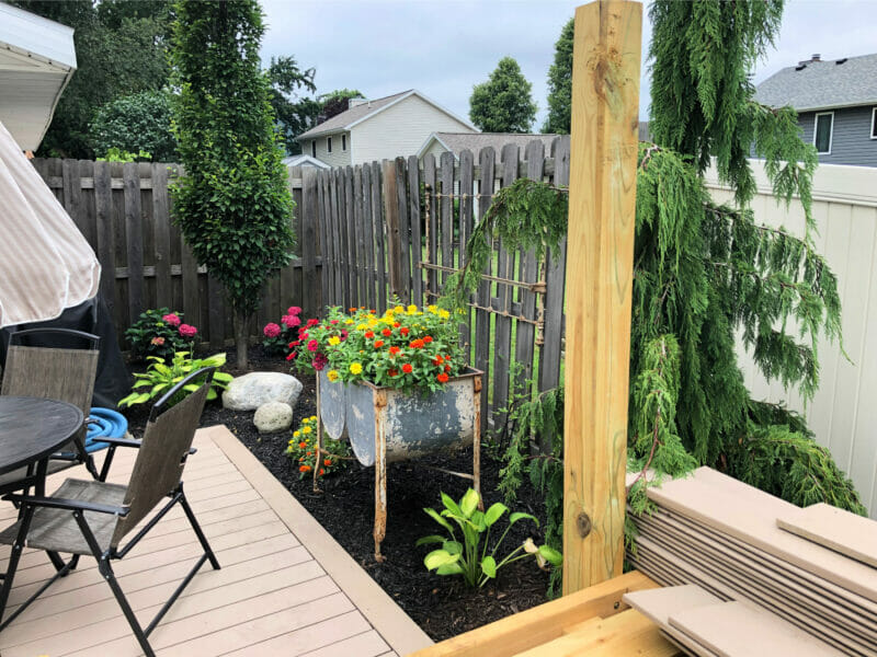 landscaping off pool deck