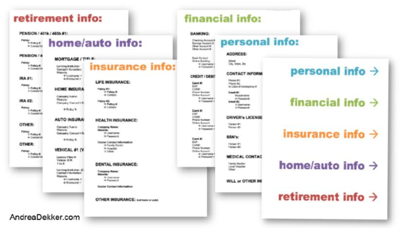 free printable emergency binder template