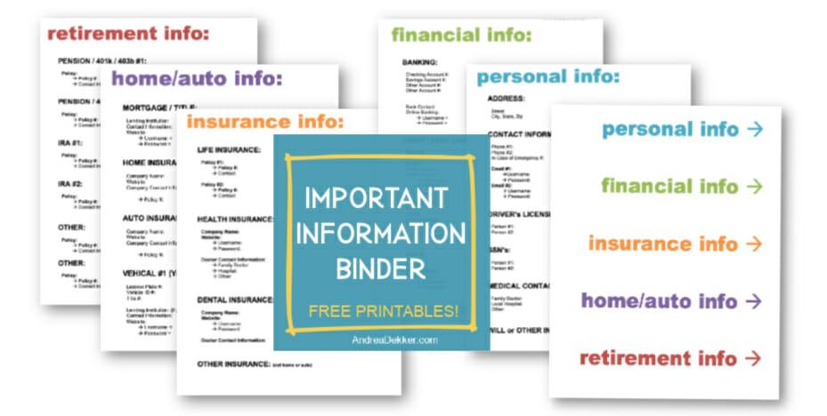 free printable important information binder