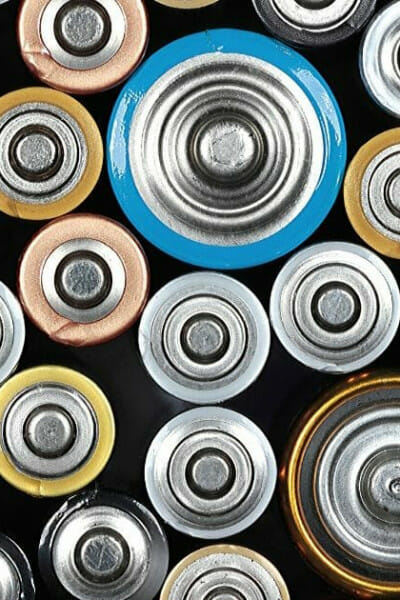 tops of corroded batteries