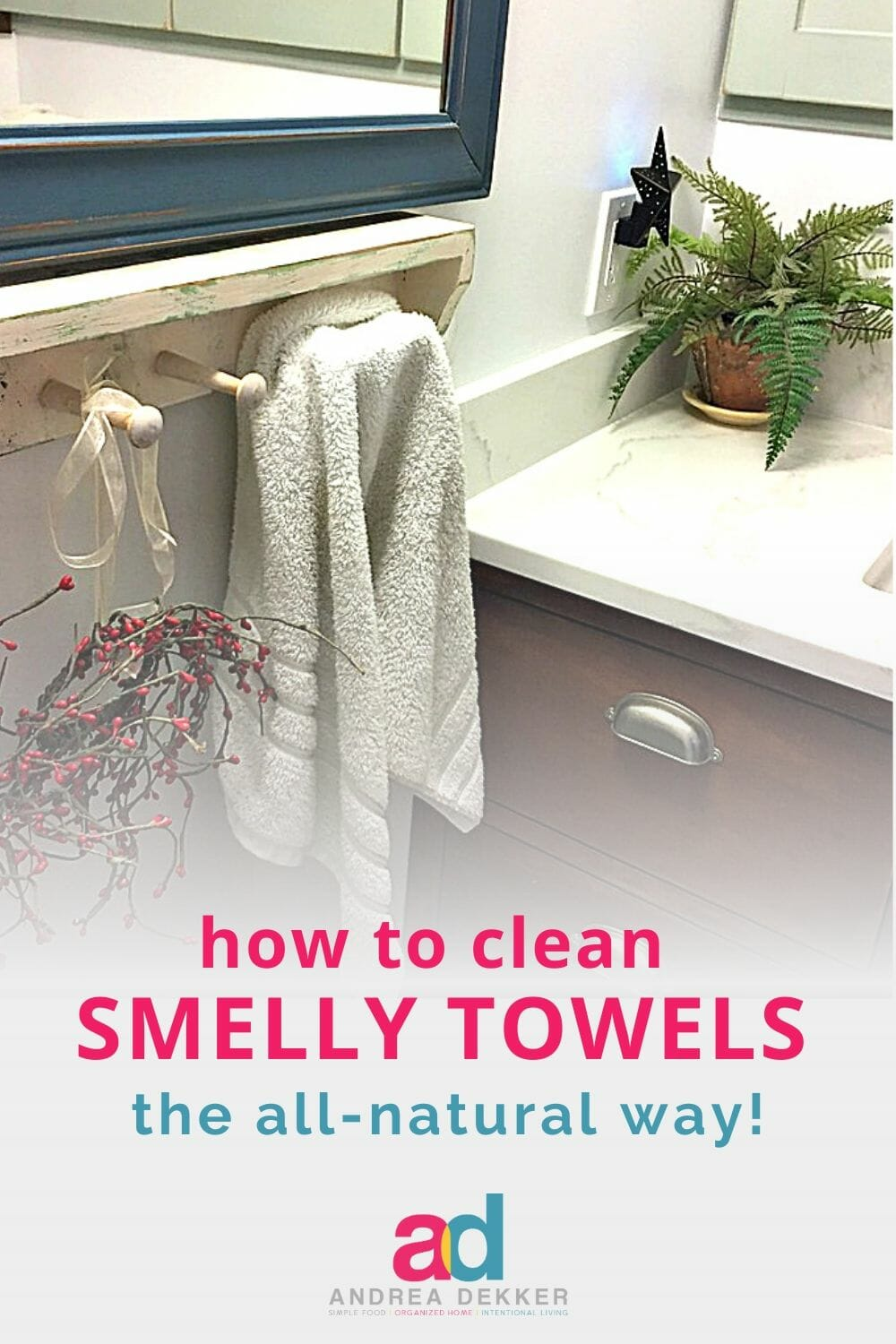 Learn how to clean and refresh your smelly towels in an all-natural way with almost no effort (your washing machine will do all the heavy lifting for you!) via @andreadekker