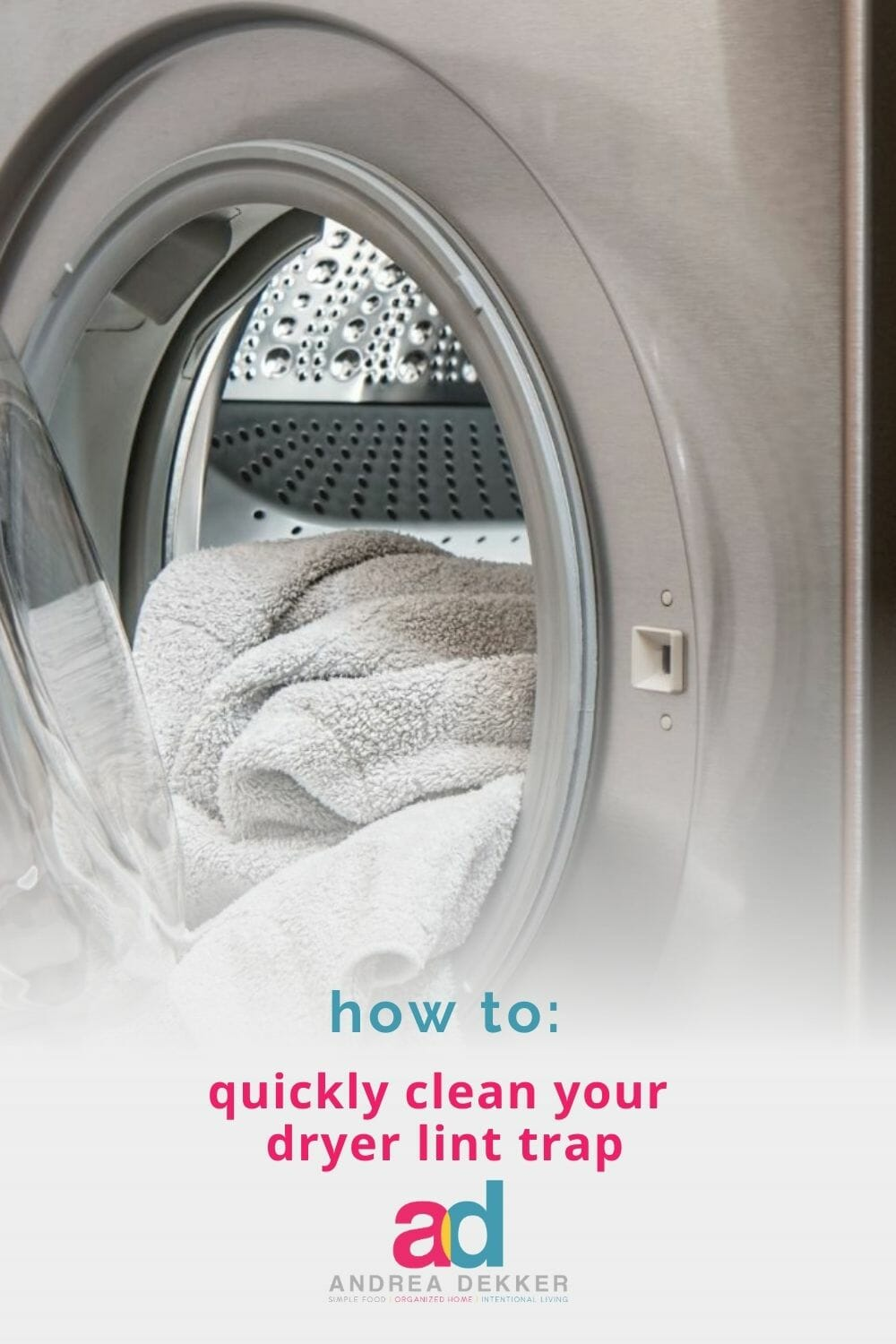 Learn how to quickly and easily clean your dryer lint trap — allowing your machine to run more efficiently and reducing the risk of a lint fire! via @andreadekker