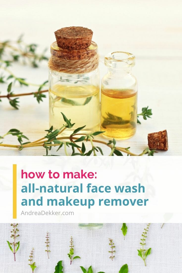 This simple recipe for all-natural face wash and makeup remover is so effective! I've been using it daily for 10 years now and my skin has never looked better. If you don't love the way your skin looks or feels, or if you're just ready for an all-natural alternative to the chemical products you currently use, give this recipe a try! via @andreadekker