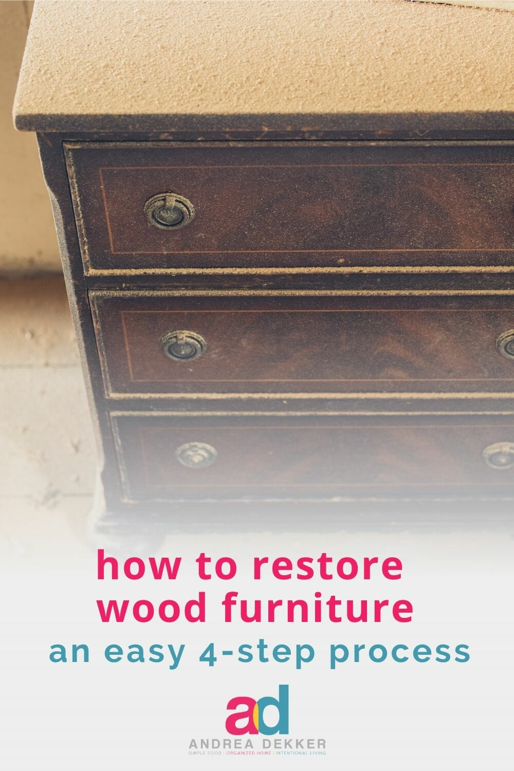 Learn how simple wood furniture restoration can be with this easy 4-step process. Bring a little life back to your favorite wood furniture -- no elbow grease or expensive products required! via @andreadekker