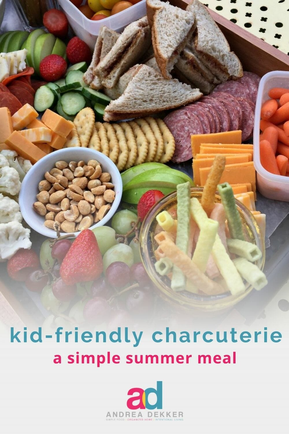 Whip up a simple kid-friendly charcuterie board and enjoy minimal cleanup and less time in the kitchen — perfect for relaxing summer days (or whenever you need a quick meal everyone will love). via @andreadekker