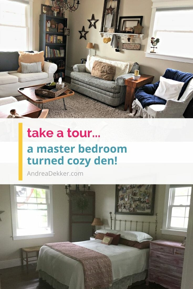 From master bedroom to cozy farmhouse den -- check out this amazing (and super frugal) transformation! via @andreadekker