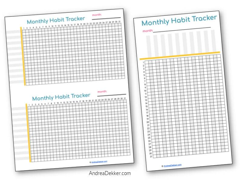 monthly habit trackers