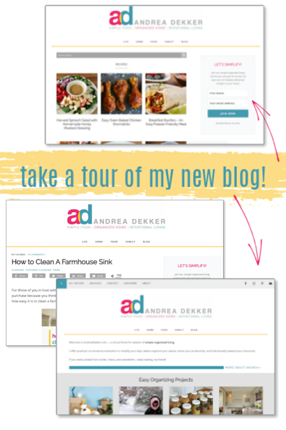 My blog got a HUGE (and very overdue) update -- yay! The design looks so clean, bright, fresh, and clutter-free... and the new logo + tagline couldn't be more perfect for my current blog and business vision! I can't wait to show you around. Click through to take a video tour with me! via @andreadekker