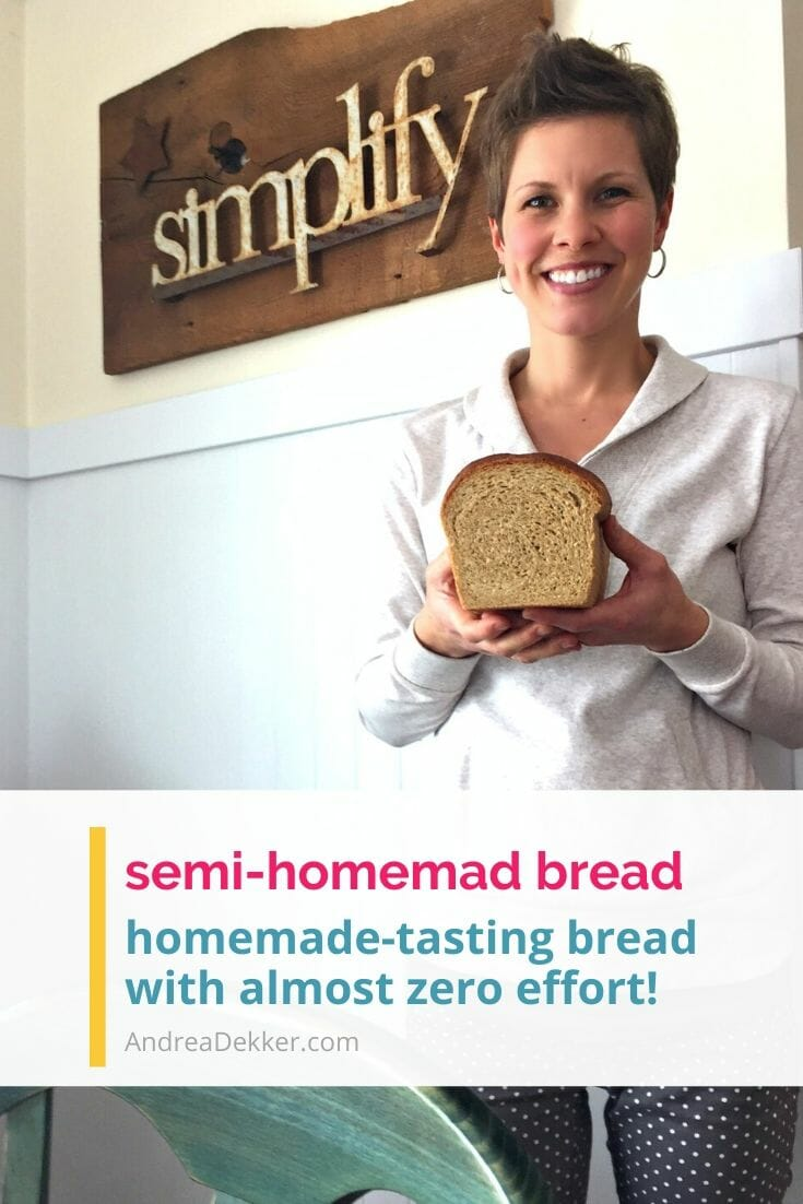 If you love the smell and the taste of homemade bread, but don't want to spend half your day in the kitchen with a pile of dirty dishes to wash, this semi-homemade bread secret will BLOW YOUR MIND!  via @andreadekker