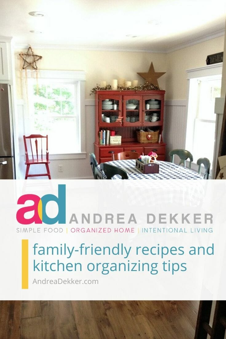 Simplify the process of cooking, baking, meal planning, and entertaining; and bring a little more organization back to the heart of YOUR home. Enjoy simple recipes, easy meal-planning how-tos, quick freezer-cooking guides, modern-day canning techniques, helpful kitchen organizing tips, and more, from AndreaDekker.com via @andreadekker