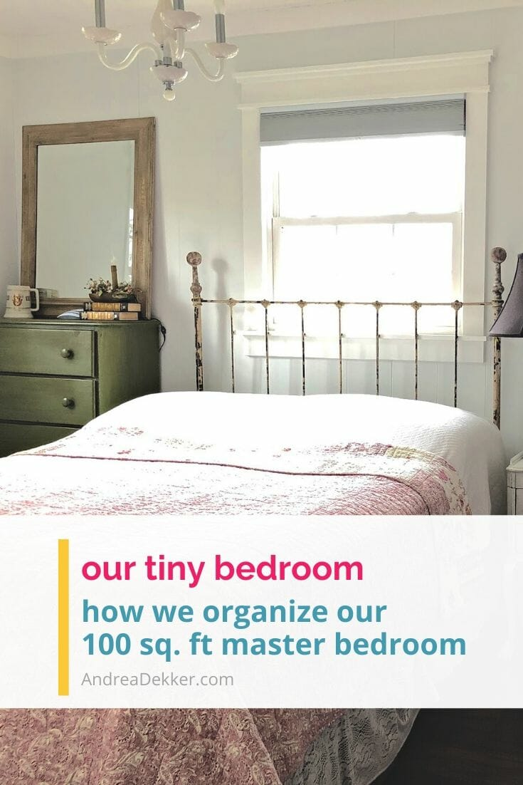 Who says bigger is better? Take a tour of our tiny 100-square-foot master bedroom and see how proper organization allows us to live comfortably in a very small space. via @andreadekker