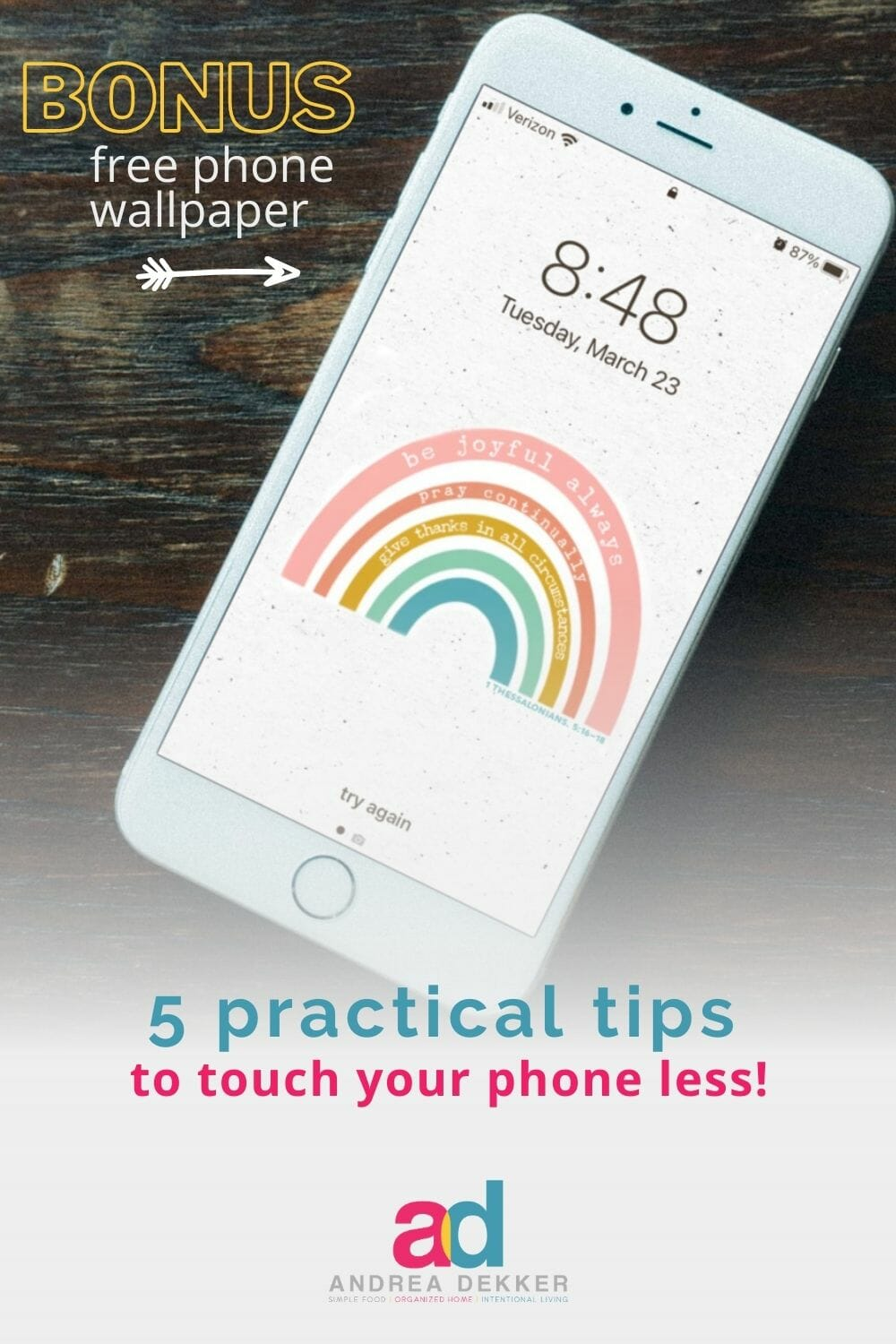 Gain freedom from your phone with these 5 tips that will train your brain and your body to touch your phone less often. via @andreadekker