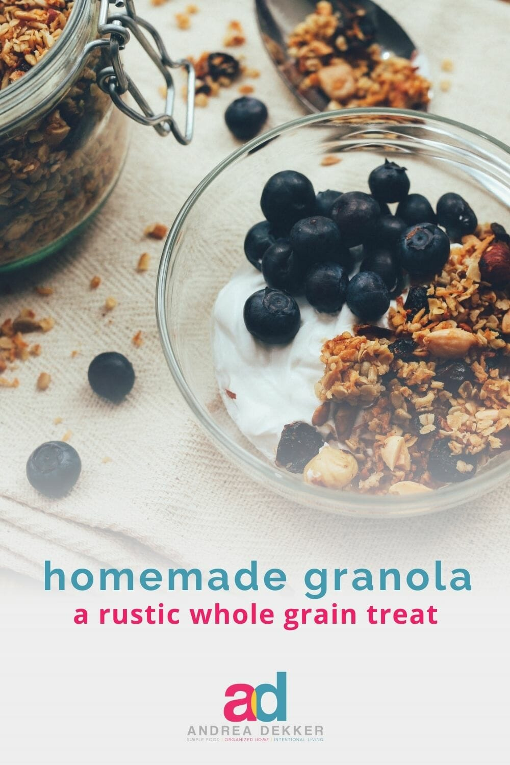 Want a delicious, nutritious, hearty whole-grain snack that will fill you up and satisfy your sweet tooth without the guilt? This recipe for rustic, whole-grain granola should do the trick! via @andreadekker